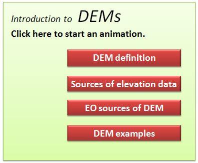 Digital Elevation Models CHARIM - Dem data sources