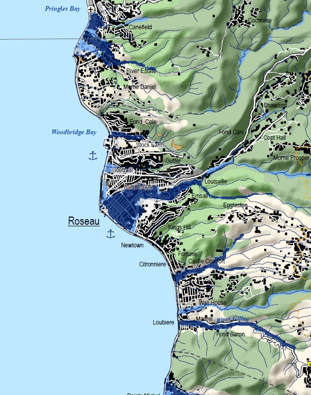 Maps CHARIM - Physical map of dominica