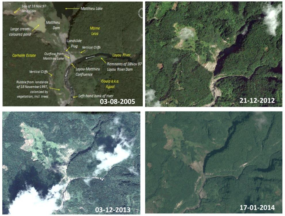 Multi Temporal Images For The Matthieu Landslide The Upper Left Image Is From Arlington 2014 The Upper Right And Lower Left Are From Google Earth